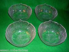 4 Arcoroc Aspen Leaf Sundae Fruit Dessert BOWLS Vintage Glass France 1970s VGC