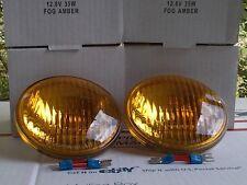 "Amber Sealed Beam 12v Fog Lamp Harley Davidson ""ONE PAIR NEW"" 4 1/2"" 4.5 inch"