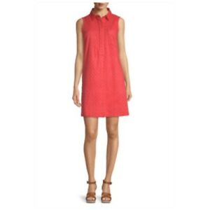 Liz Claiborne Eyelet Sleeveless Shirt Shift Dress Summer Casual Women