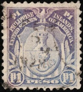 Philippines - 1918  - 1 Peso Pale Violet Arms of Manila Issue # 289D Used & VF