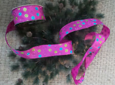 "Ribbon wire edge Pink w/ Glitter multi color polka Dots  2.5"" Wide 5 Yds"