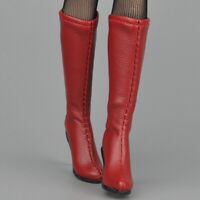 1/6 Red High Heel Shoes Zip Boots for Phicen 12'' Action Figure Model Toy
