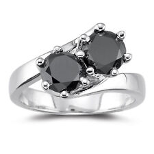 Engagement 925 Sterling Silver Ring 3+Ct Black Color Moissanite Diamond Round