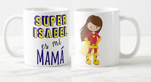 DÍA DE LA MADRE - Taza  SUPER NOMBRE ES MI MAMÁ ROJO - Taza Personalizada