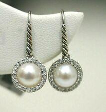 DAVID YURMAN NEW Sterling Silver  Pearl & Diamond Drop Earrings