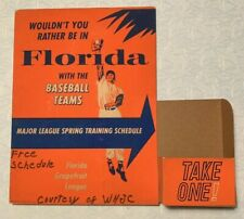 Vintage Spring Training Schedule Holder 1960s Cardboard MLB Grapefruit Baseball
