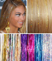 "40"" HAIR Tinsel Silk Bling EXTENSIONS Glitter Sparkly Highlights Streak Clubbing"