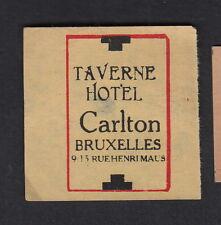 Ancienne  étiquette  allumettes Belgique BN11474 Taverne Hotel Carlton
