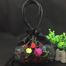 New Chinese Women's Black Embroider Flower Satin Bag Purse Jewelry Handbag