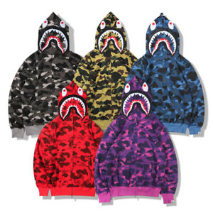 BAPE A Bathing Ape Men Shark Head Sweater Full Zip Camouflage Hoodie Jacket Coat