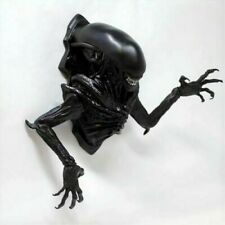 More details for alien bust black plaque flush fitting wall hanging hand painted resin 22x12x23cm
