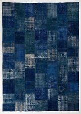 Navy Blue color PATCHWORK RUG Handmade from OverDyed Vintage Turkish Carpets