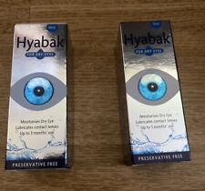 2 X Hyabak For Dry Eyes Preservative Free Moisturises Dry Eye 10ml. Exp 2021/22