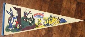 1972 Warner Brothers Bugs Bunny Follies mascot pennant-Porky Pig & Road Runner!