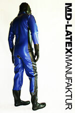 "MD-Latex - ""Blue & Black"" 0,9mm TUTA in lattice latex rubber latex Overall tuta intera"