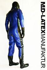 "MD-Latex - ""BLUE & BLACK"" 0,9mm Latexanzug Latex Rubber Latexoverall Ganzanzug"