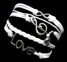 White Silver Infinity Bracelet Charm Love Music Braided Wrap Fashion Jewelry