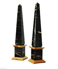 Coppia Obelischi Marmo Giallo Portoro Marble Pair Obeliskes Made in Italy H.40cm