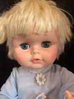 EeGee Drink Wet Plastic Baby Doll Cracked Torso TLC  Original Blue Sleeper