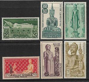 LAOS - 1953 - STATUES OF BUDDHA - AIR SET OF 6- MM - SG 34/39 - CAT £43
