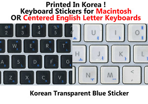 Korean BLUE Transparent Keyboard Sticker for Center Key MAC and Windows
