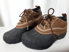 LL BEAN Duck Boot Womens Size 7 Lace Up Black Tan Leather