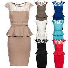 Laeticia Dreams Damen Abendkleid mit Spitze Schößchen Etui Kleid Neu XS S M L XL