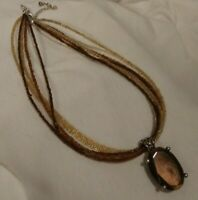 Premier Designs Solano Necklace Brown Pendant Silver Tone Brown/Yellow Seed Bead