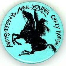 Neil Young / Crazy Horse Original 1990 Ragged Glory Tour Pinback Button Pin
