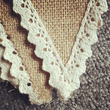 Rustic xmas hessian Wedding burlap Banner Vintage Lace Bunting Party Decor hot