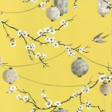 CHINESE GARDEN WALLPAPER CHERRY BLOSSOM TRAILS LANTERNS - ARTHOUSE YELLOW 695401