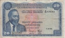 KENYA BANKNOTE P8a-6562 20 SHILLINGS 1969, SEVERAL TEARS, VG