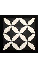 Encaustic Cement Floor Tile- White Circle Pattern Square Retro  (price Per M2)