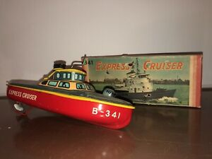 Vintage Bandai Tin Litho Toy Wind Up Ship Express Cruiser B341 Great Color + Box