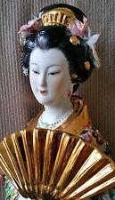 SATSUMA Style Geisha Porcelain Large Figurine Statue Sculpture Gold Fan Figure