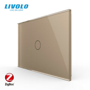 LIVOLO AU Standard Luxury Glass Touch Zigbee Smart Switch 1Gang Gold App Control
