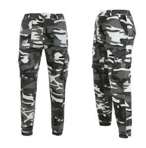 Camouflage Print Cuffed  Combat High Waist Military Stlye Trouser  Womens