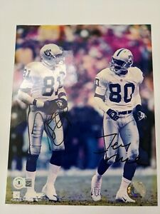 Tim Brown Jerry Rice Signed Autographed Oakland Raiders 8x10 Photo Beckett BAS