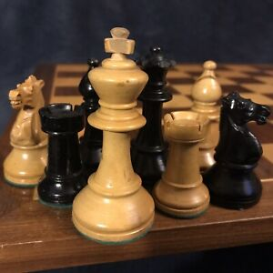 "Awesome Vintage WF Drueke Black & Tan Boxwood Chess Set 3.5""K Original Case"