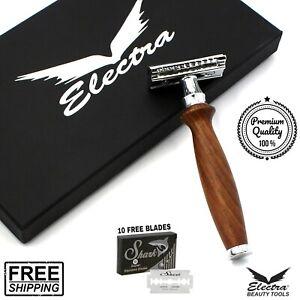 Mens Double Edge Shaving Safety Razor Shaver + 10 Blades Brown Wooden Gift Set