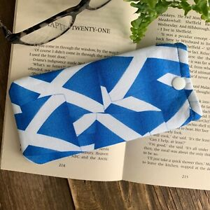 Saltaire fabric glasses case spectacle snap pouch Handmade Scottish Gift idea
