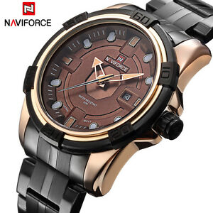 Men Naviforce Military Japan Quartz Leather Watch with 30M Water Resistance Date