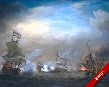 NAVAL BATTLE OF TEXEL PAINTING DUTCH ENGLISH FRENCH WAR ART REAL CANVASPRINT