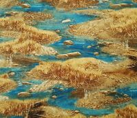 "Wild Horse Mountains Rocks Water Blue Cotton Fabric QT Sundance 24/""X44/"" Panel"