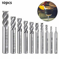 10pcs 4-Flute End Mill Bits HSS CNC Shank Drill Bits Cutter for Aluminum Steel