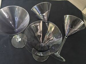 "(4) Tall Purple Tinted Martini Glasses - 7 1/4"" Tall. Amethyst"