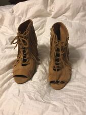 Gianni Bini Camel Brown Fringe Ankle Lace Up Peep Toe 8.5