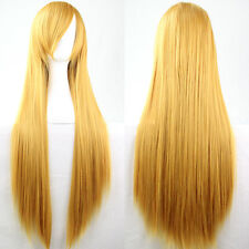 Dazzle Blonde Anime Cosplay Wigs 100cm Long Straight Women With Bangs Hair Wig
