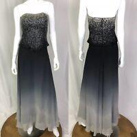 Cassandra Stone 6 Black Gray Ombre Silk Chiffon Beaded Strapless Gown Dress