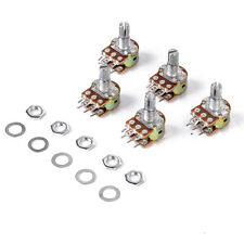 5x B10K Dual Stereo Potentiometer Pots Linear Taper Splined Shaft 16mm 6 Pin New